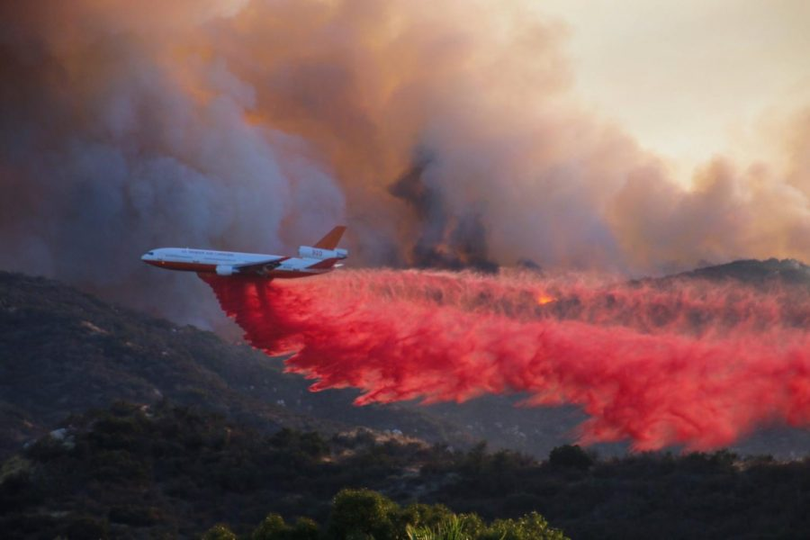 An+aircraft+drops+retardant+on+a+wildfire+in+Wildomar%2C+Oct.+26.+Photo+courtesy+of+Cleveland+National+Forest%27s+Twitter+page.