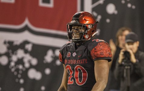 Rashaad Penny is all smiles during the Aztecs 42-23 victory over Nevada on Nov. 18 at SDCCU Stadium.