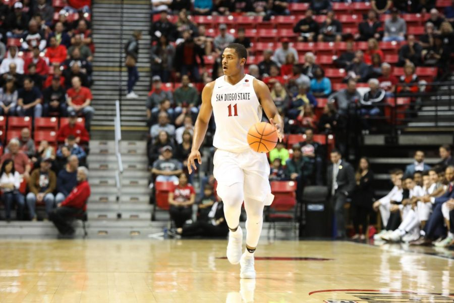 Freshman forward Matt Mitchell walks the ball up the court during Aztecs 91-52 victory over San Diego Christian College on Nov.  10.