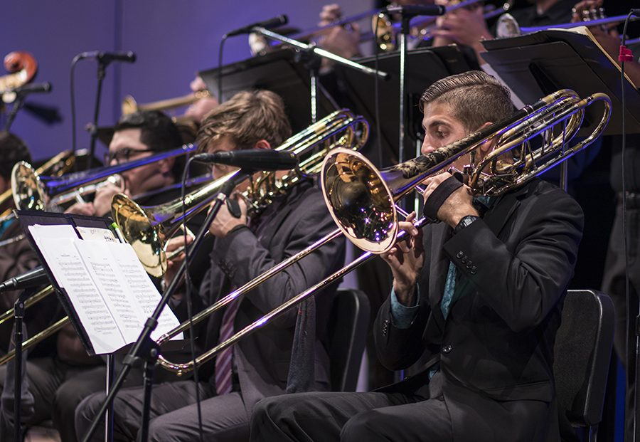 San+Diego+State%E2%80%99s+Jazz+Ensemble+performed+for+audiences+in+the+Smith+Recital+Hall+on+Nov.+8.