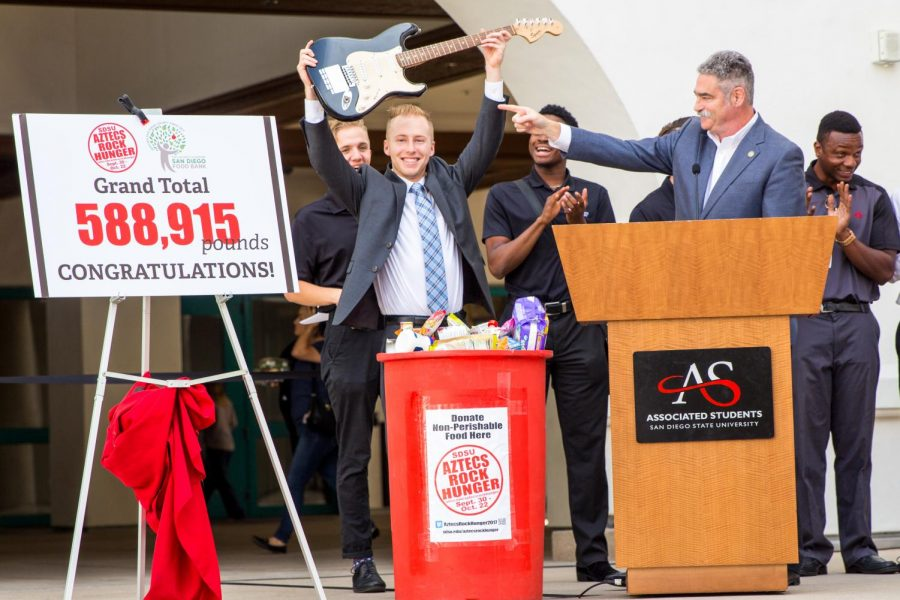 Associated+Students+Vice+President+of+Financial+Affairs+Hayden+Willis+unveiled+the+2017+Aztecs+Rock+Hunger+grand+total.