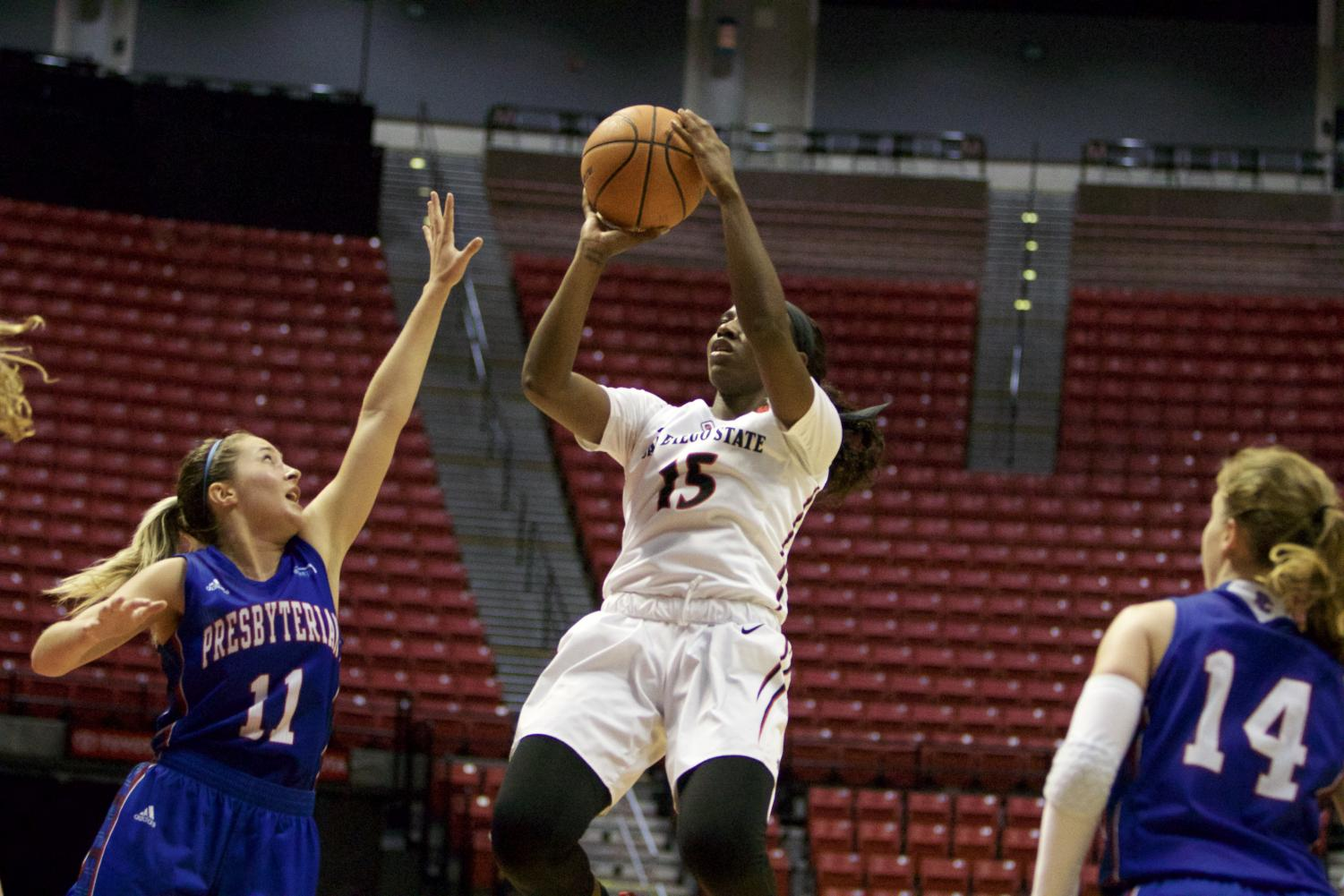 Senior guard McKynzie Fort rises for a jump shot during SDSU's win over Presbyterian.