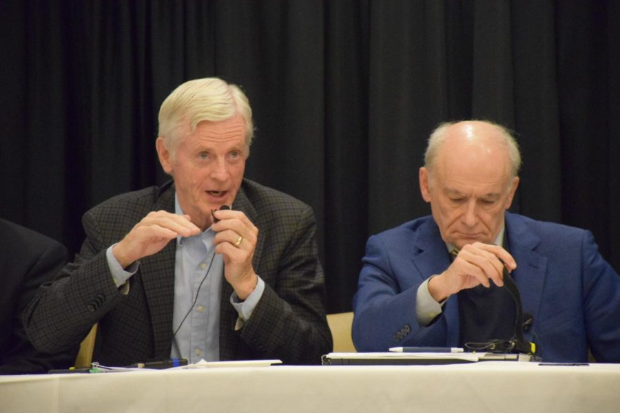 David Kilgour and David Matas during a panel on human organ trafficking at the Parma Payne Goodall Alumni Center on Nov. 2. Matas and Kilgour are the co-authors of two reports and a book on the state of organ trafficking in China.