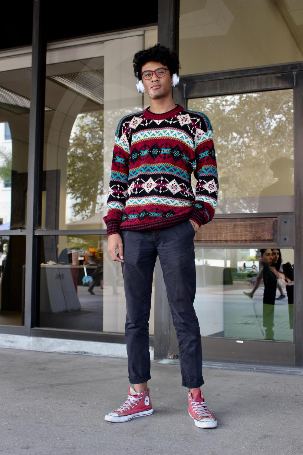Yuuki Rosby's sweater weather style shines at state with his mix of cozy, customized and thrifted looks.