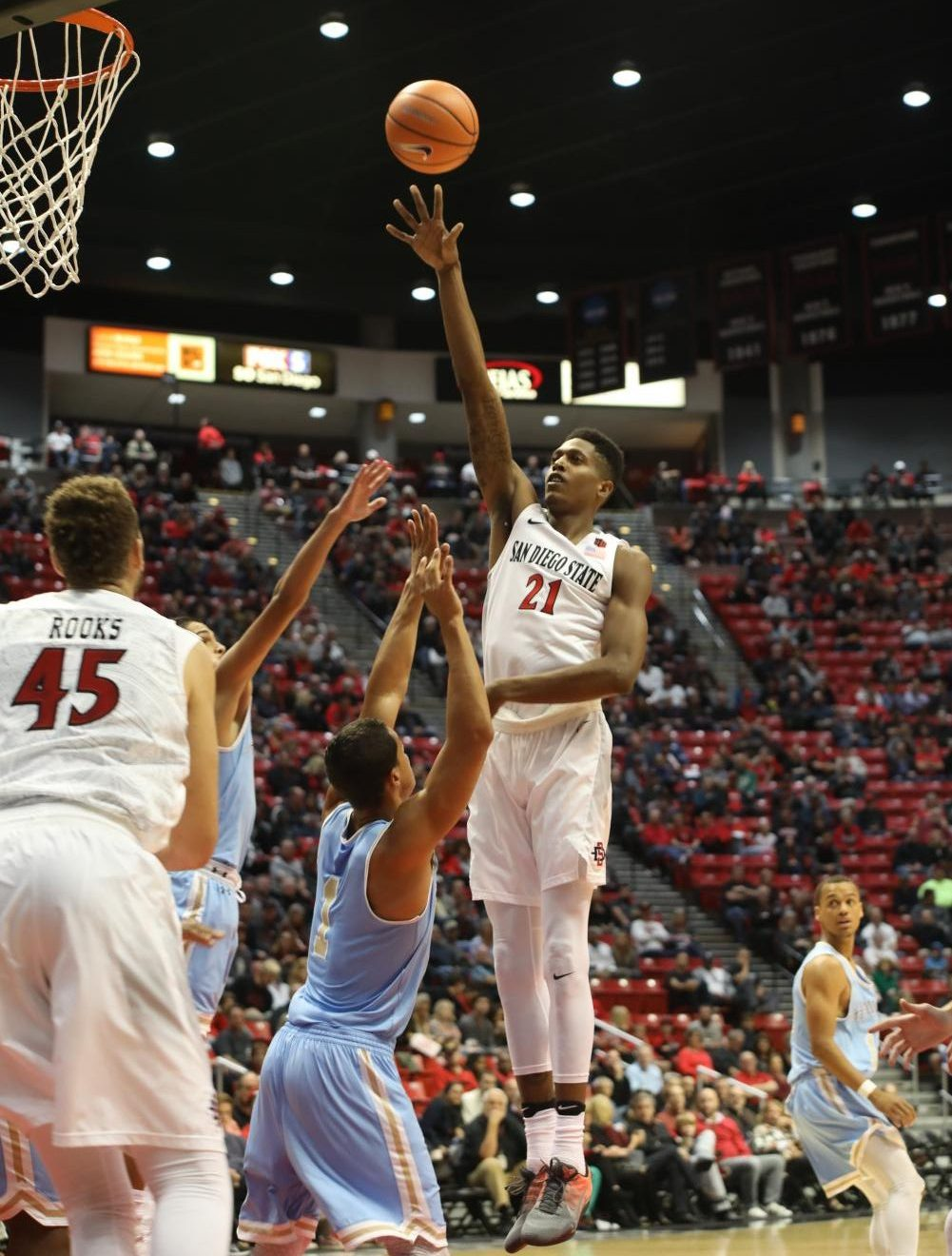Senior forward Malik Pope puts up a floater in the first half against San Diego Christian. Pope led SDSU with 20 points in the 91-50 win.