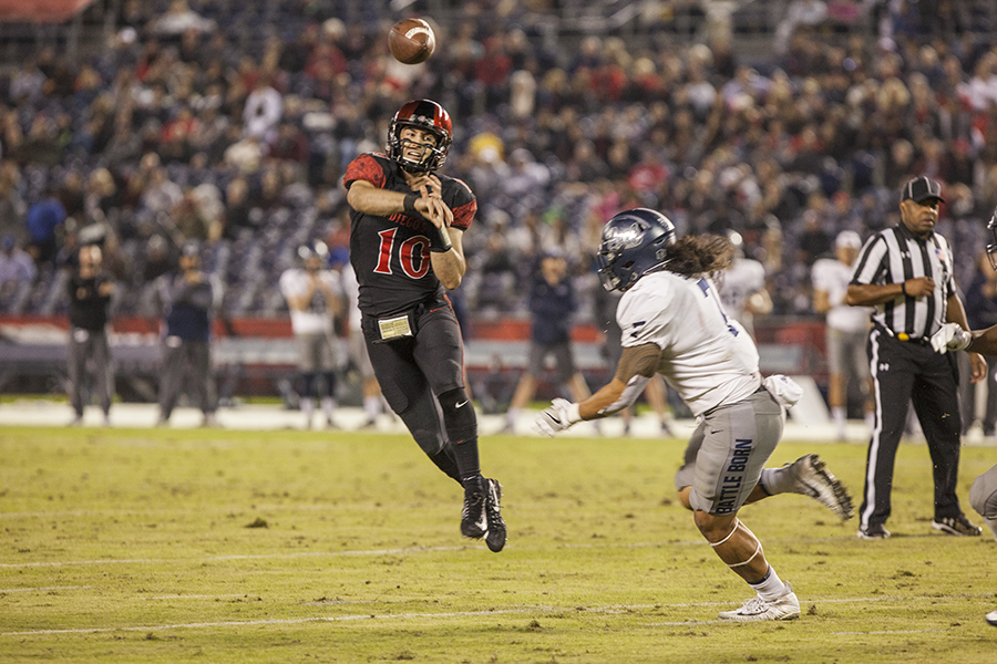 Then-redshirt junior quarterback Christian Chapman throws a pass during the Aztecs 42-23 victory over University of Nevada on Nov. 18 at SDCCU Stadium.