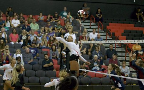 Senior outside hitter Deja Harris readies for a spike during SDSU's loss to Loyola Marymount on Sept. 8.
