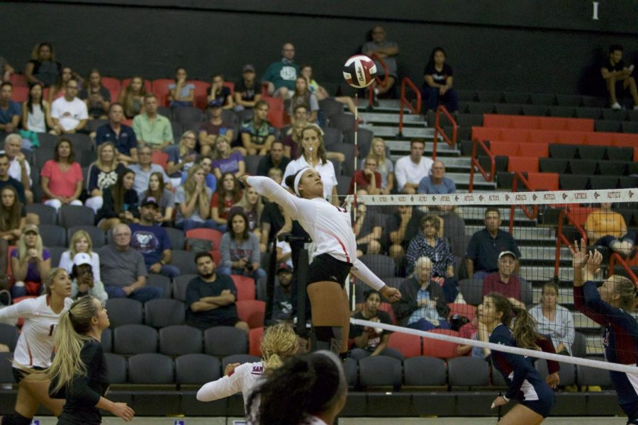 Senior+outside+hitter+Deja+Harris+readies+for+a+spike+during+SDSU%27s+loss+to+Loyola+Marymount+on+Sept.+8.