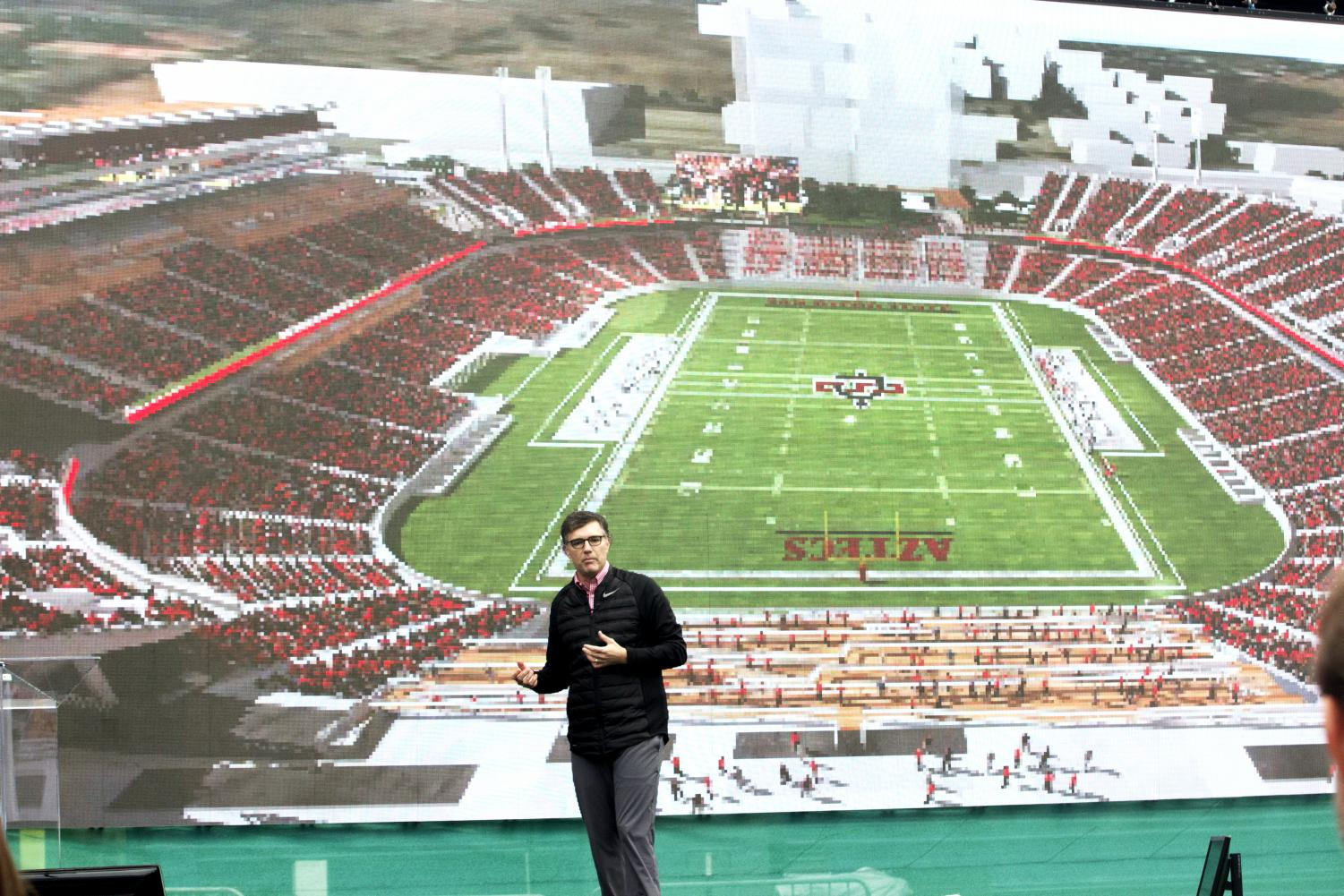 Director of Athletics John David Wicker unveils the renderings for SDSU's proposed Campus West stadium in November 2017.