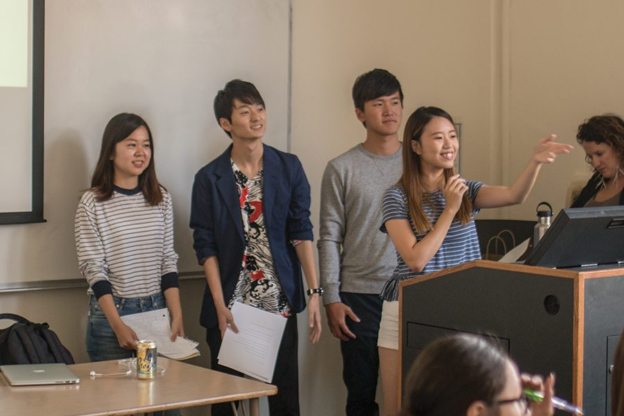 Four+students+discussed+stereotypes+and+misconceptions+Americans+have+about+Asian+culture.+From+left%3A+Minami+Takashima%2C+Hirotaka+Kaneyuki%2C+Josh+Hsien+Yang+and+Yee+Ting+Lam.