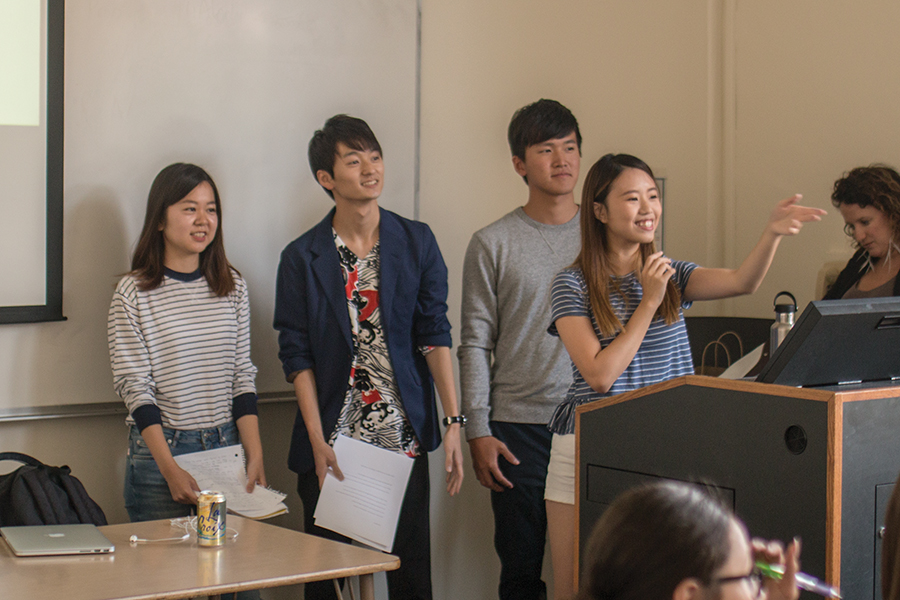 Four students discussed stereotypes and misconceptions Americans have about Asian culture. From left: Minami Takashima, Hirotaka Kaneyuki, Josh Hsien Yang and Yee Ting Lam.