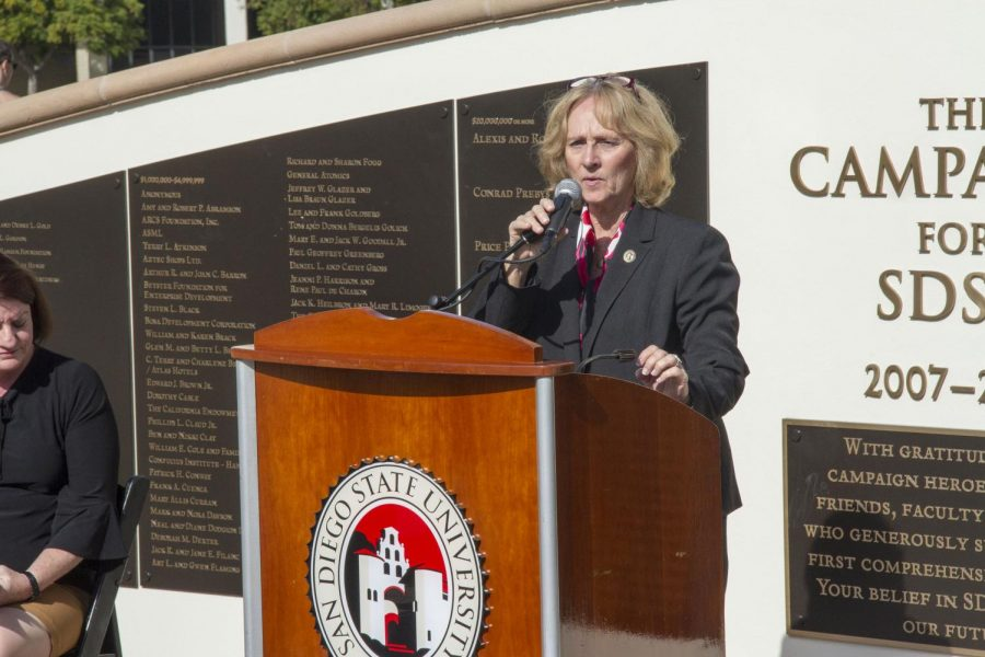 Sally Roush, the current SDSU president, speaks at a press conference in November. Roush stepped into the role on a temporary basis after former university president Elliot Hirshman stepped down at the end of June 2017.