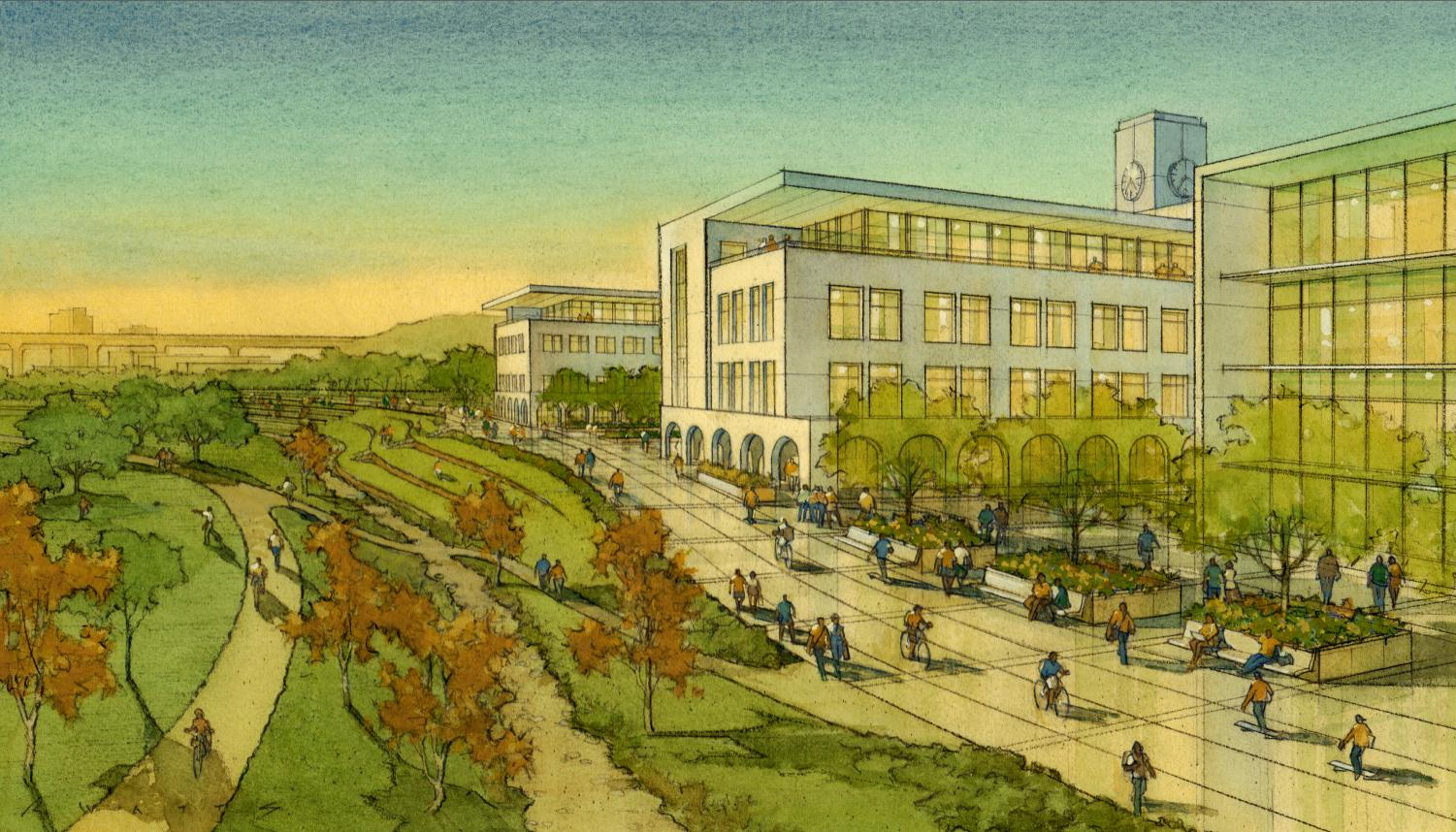 A rendering of park land near the San Diego River, included in the SDSU Mission Valley site plan. Photo courtesy of SDSU Newscenter.