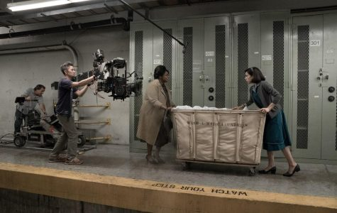 Actors Octavia Spencer and Sally Hawkins seen on the set of