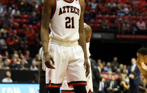 Senior forward Malik Pope during the Aztecs 63-62 loss against University of California, Berkeley, on Dec. 9 at Viejas Arena.