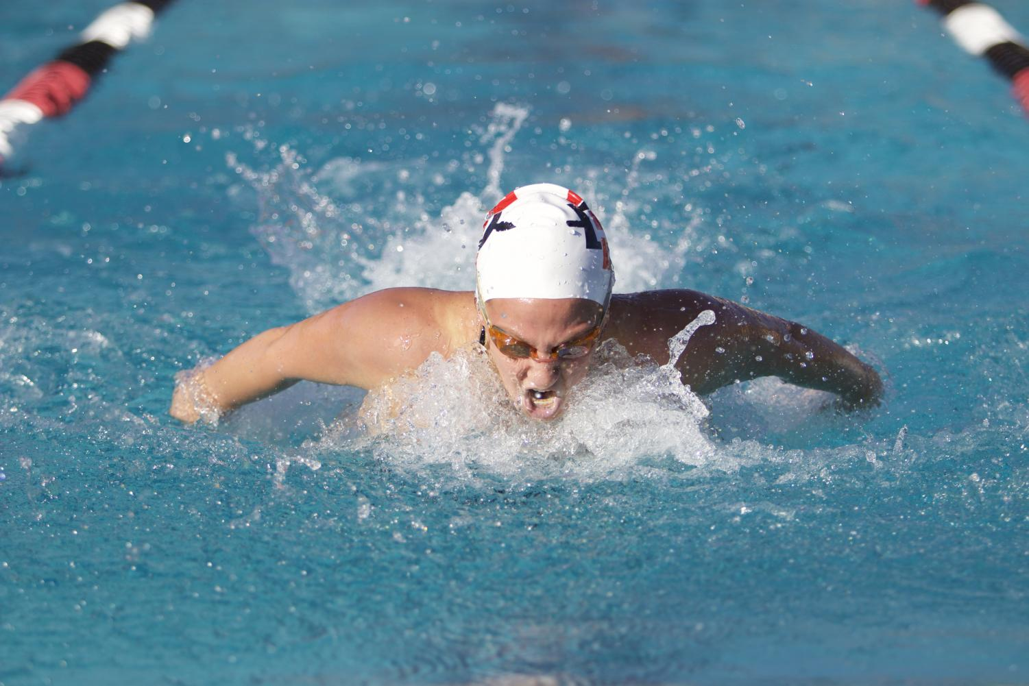 An SDSU swimmer competes in the 200-meter butterfly during the Aztecs' dual-meet victory over Pepperdine and UC San Diego on Dec. 1.