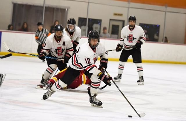 Forward Tristan Macalolooy races with the puck during an SDSU hockey game in the 2017 season.