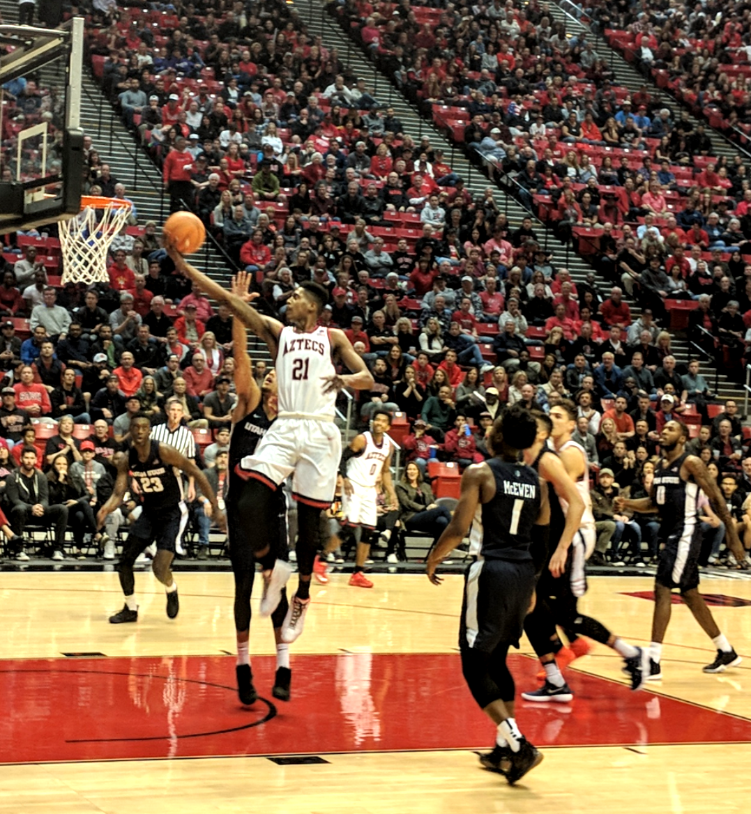 Malik Pope attempts a layup during the Aztecs 79-59 victory over Utah State at Viejas Arena on Dec. 30