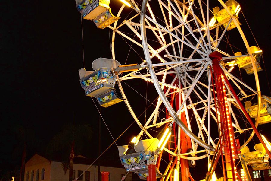 The campus carnival Aztec Nights event in September of 2016 featured a ferris wheel and other classic carnival rides free for students to enjoy.