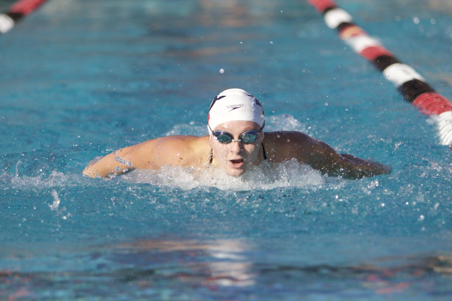 An SDSU swimmer competes in the butterfly event during the Aztecs' meet with Pepperdine and UCSD on Dec. 1.