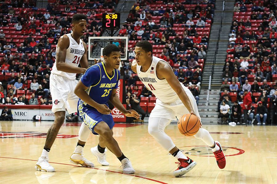 Freshman+forward+Matt+Mitchell+attacks+the+basket+during+SDSUs+85-49+win+over+San+Jose+State.