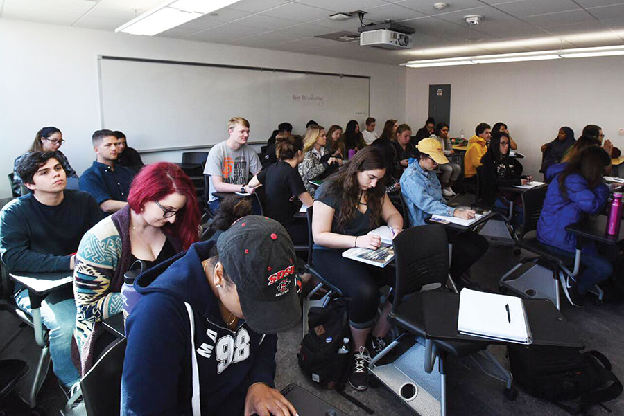 Students in a classroom at San Diego State.