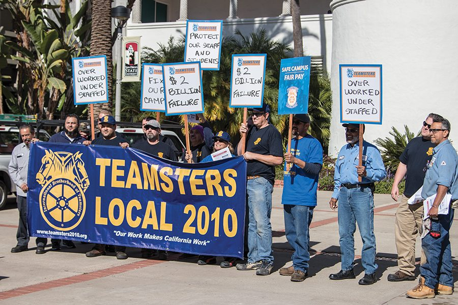 SDSU+maintenance+workers+held+a+demonstration+Tuesday+afternoon+against+what+they+describe+as+unfair+practices+by+SDSU.