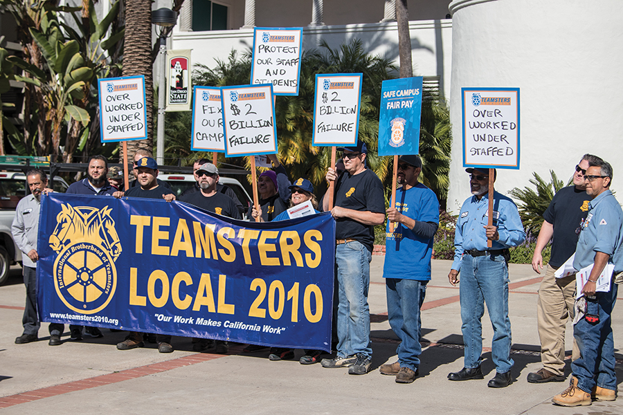 SDSU maintenance workers held a demonstration Tuesday afternoon against what they describe as unfair practices by SDSU.