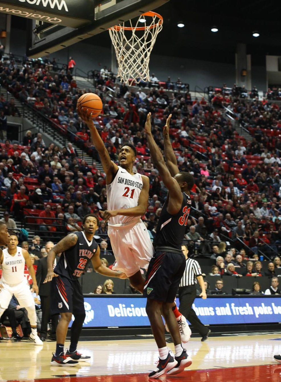 Senior forward Malik Pope rises for a layup during SDSU's 77-73 loss to Fresno State.