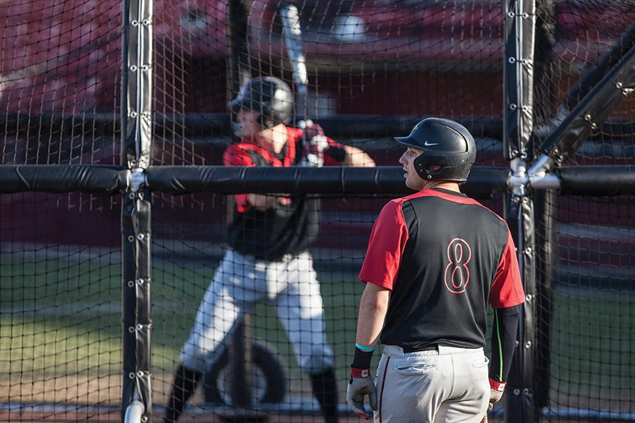 Freshman+infielder+Casey+Schmitt+looks+on+during+baseball+batting+practice+on+Jan.+26.