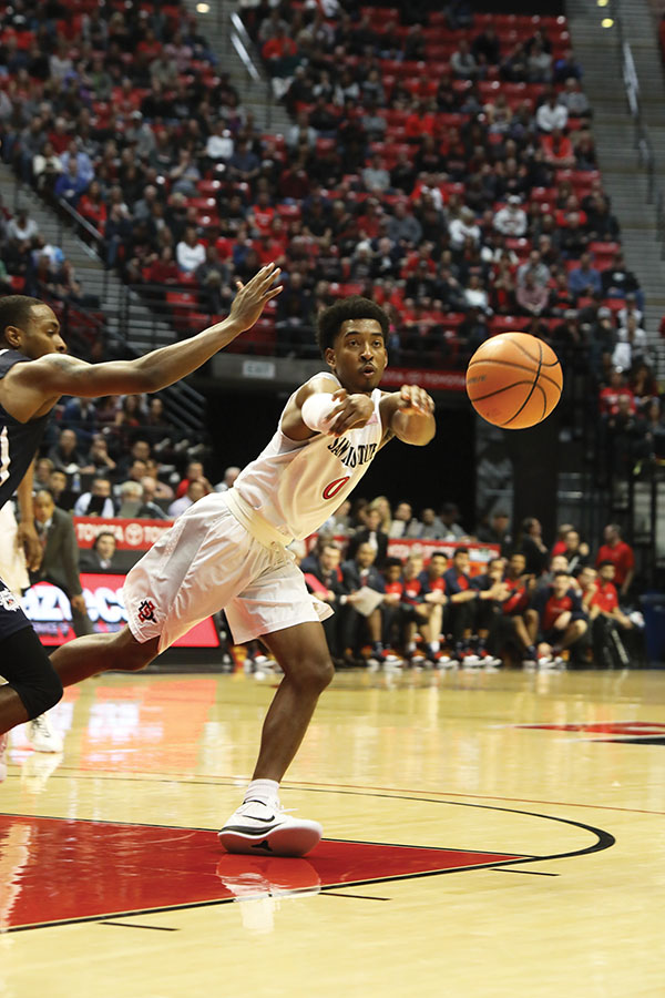 Junior guard Devin Watson threads a pass during SDSUs loss to Fresno State on Jan. 17.