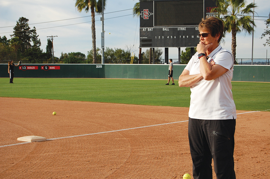 SDSU softball coach Kathy Van Wyk looks on during practice on Jan. 30.