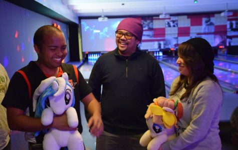 Bronies Nolan Alisasis and Ohmeko Ocampo, along with pegasister Samantha Ramos, take a break from bowling to discuss the