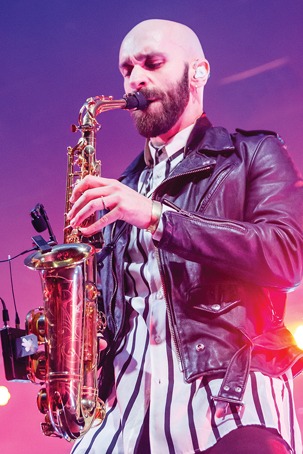 X Ambassadors lead singer Sam Harris stole the stage with his saxophone solo at SOMA on Friday Feb. 23.