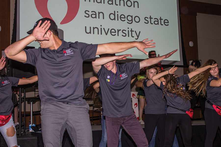 Aztec Dance Marathon members Nick Milsner and Graham McKay got the night of dancing started.