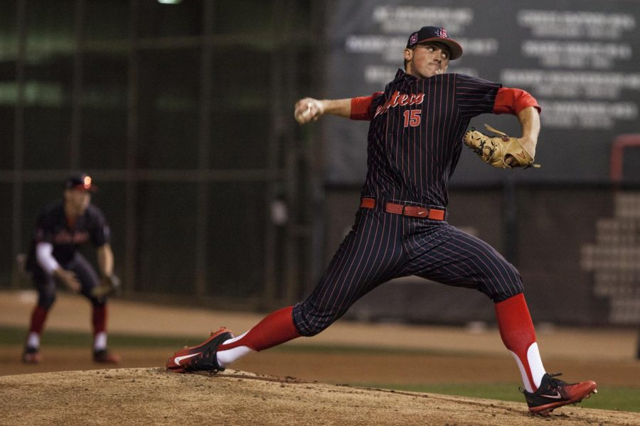 Sophomore+Logan+Boyer+throws+a+pitch+during+the+Aztecs+9-1+victory+over+UCSB+on+Feb.+16+at+Tony+Gwynn+Stadium.