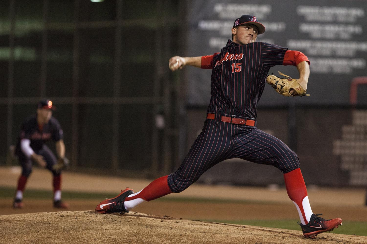 Sophomore Logan Boyer throws a pitch during the Aztecs 9-1 victory over UCSB on Feb. 16 at Tony Gwynn Stadium.