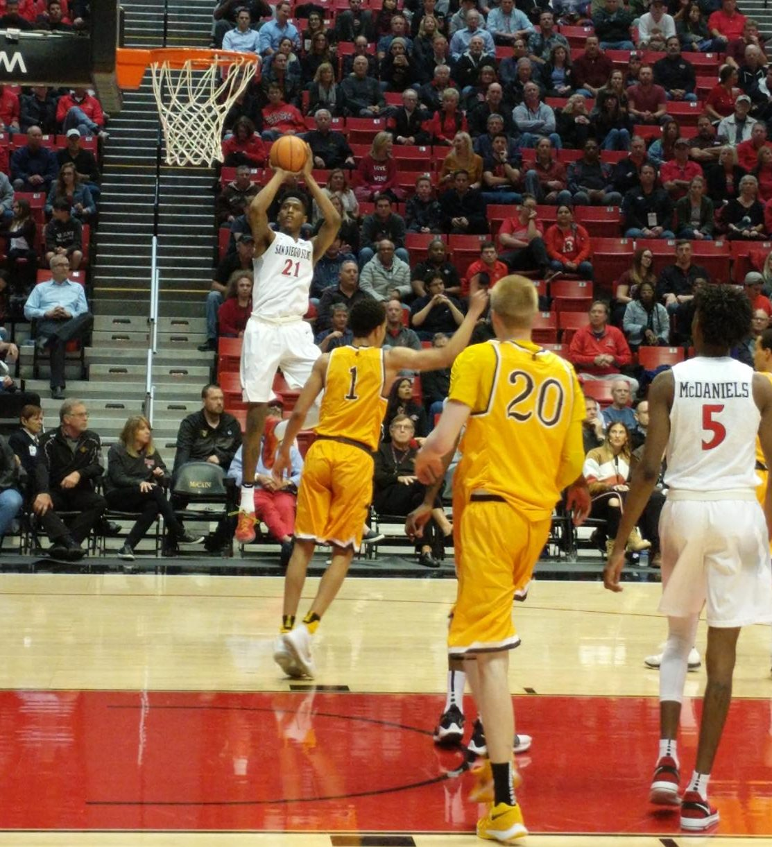Malik Pope goes up for a shot during the Aztecs 87-77 victory over Wyoming at Viejas Arena on Feb. 14.