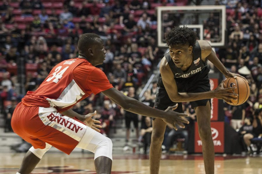 Then-redshirt+freshman+forward+Jalen+McDaniels+eyes+the+basket+during+the+Aztecs%27+94-56+victory+over+UNLV+on+Feb.+17+at+Viejas+Arena.