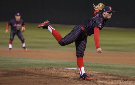 Sophomore pitcher Logan Boyer throws a pitch during the Aztecs 3-2 victory over Arizona on Feb. 23 at Tony Gwynn Stadium.