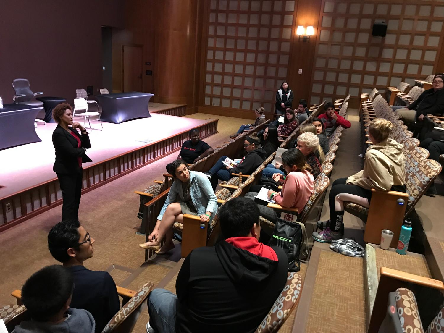 "Managing producer and director of ""Defamation"" Kimm Beavers addresses the audience in a post-performance discussion."