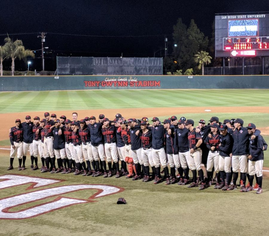 Aztecs+players+sing+the+fight+song+after+defeating+Michigan+4-3+on+Feb.+26+at+Tony+Gwynn+Stadium.+