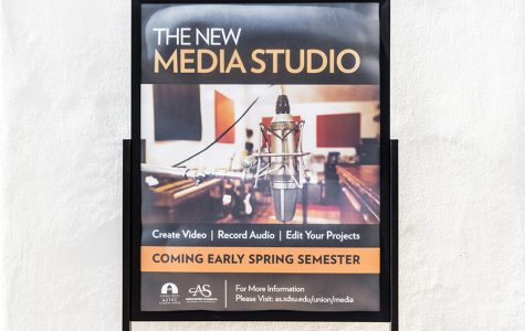 A sign advertising SDSU's new media lab in the Conrad Prebys Aztec Student Union.