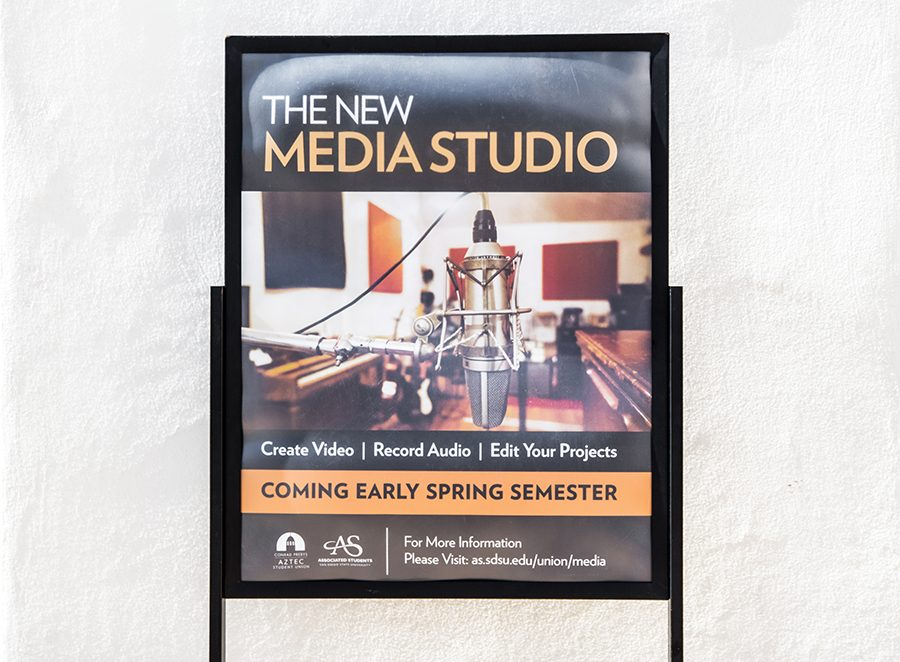 A+sign+advertising+SDSU%27s+new+media+lab+in+the+Conrad+Prebys+Aztec+Student+Union.