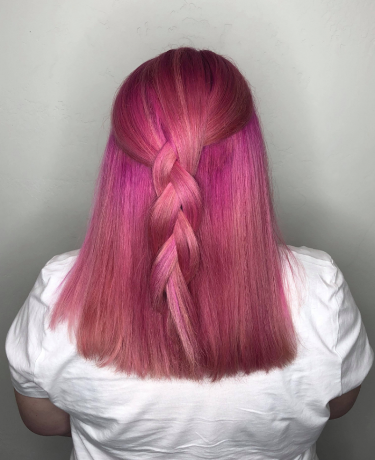 Staff+writer+Sydney+Faulkner+has+experimented+with+her+hair+color%2C+with+pink+being+the+most+recent.+