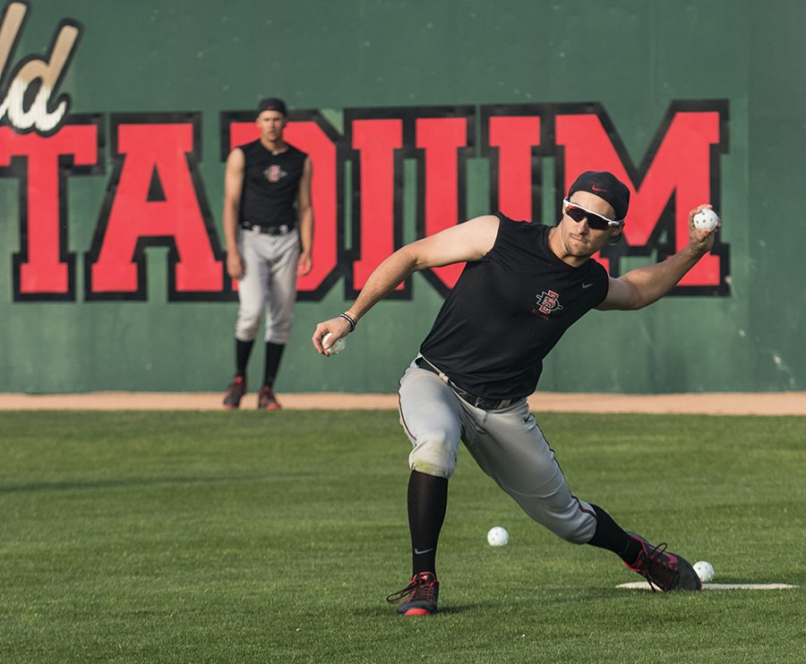Senior outfielder Chase Calabuig throws a wiffle ball during practice on Jan. 13