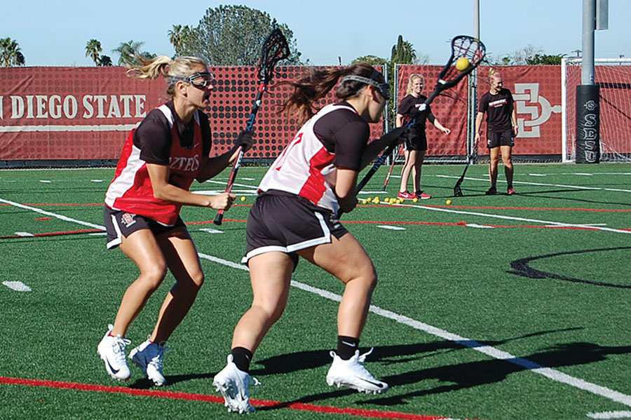 Senior midfielder Mackenzie Lech (LEFT) plays defense during a practice scrimmage on Jan. 29