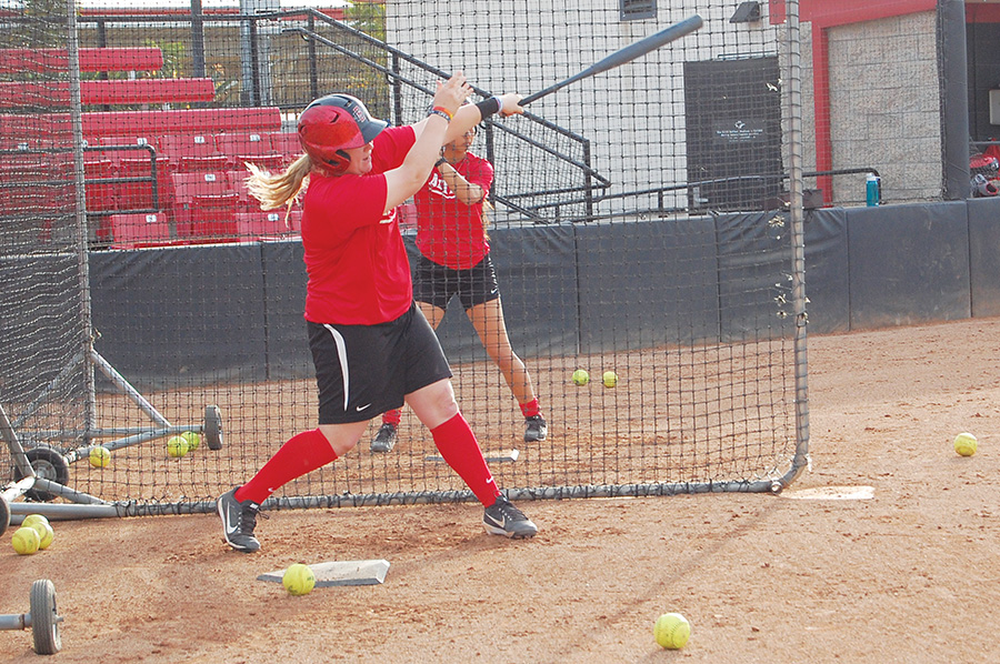 Junior Molly Sturdivant takes batting practice during practice on Jan. 30