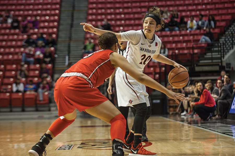 Senior+guard+Geena+Gomez++controls+the+ball+during+the+Aztecs+75-64+loss+to+UNLV+on+Jan.+27+at+Viejas+Arena.
