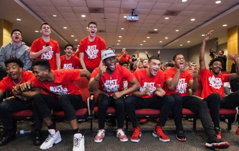 Members of the San Diego State men's basketball team react to the teams 11 seed in the upcoming NCAA Tournament at the Fowler Athletic Center on March 11. The Aztecs will play No. 6 seed University of Houston in the Round of 64 on March 15 in Wichita, Kansas.